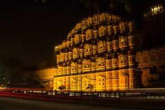 Hawa Mahal och ljusslingor Arkivbild