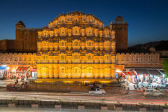 Hawa Mahal (Palace of the Winds) in central Jaipur at night. JAIPUR, INDIA - 22ND MARCH 2016: A view of the Hawa Mahal (Palace of the Winds) in central Jaipur at Stock Images
