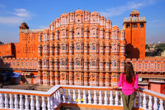 Hawa Mahal - Palace of the Winds in Jaipur, Rajasthan, India. It was designed by Lal Chand Ustad in the form of the crown of Krishna, the Hindu god royalty free stock photo