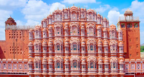Hawa Mahal slott (slotten av vindarna) i Jaipur, Rajasthan arkivfoto