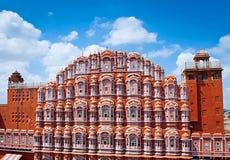 Hawa Mahal slott (slotten av vindarna), Jaipur, Rajasthan Royaltyfria Foton