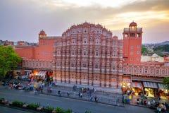 Hawa Mahal sulla sera, Jaipur, Ragiastan, India fotografia stock libera da diritti