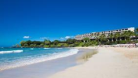 Hawaian  Beach. Tourist sunbathing and surfing on Hapuna Beach Big Island, Hawaii Royalty Free Stock Images