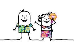 Hawaian couple vector illustration