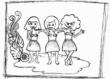 Hawaian dancing girls. Illustration of three young girl dancing in outline style Royalty Free Stock Photos