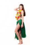 Hawaian girl. Young brunette girl dressed in hawaian welcoming dress with flowers around her neck. Isolated on white Stock Photos