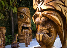 Hawaian Tiki. Wooden carvings of Hawaiian gods Royalty Free Stock Photo