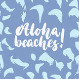 Hawaiana, playas - dé a cita exhausta de las letras la inscripción colorida de la tinta del cepillo de la diversión para las capa libre illustration