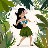 Hawaiano Aloha Party Invitation con la ragazza di dancing hawaiana di hula in giungla tropicale Immagini Stock