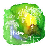 Hawaiano dell'acquerello, progettazione grafica tropicale Fotografia Stock