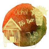 Hawaiano dell'acquerello, progettazione grafica tropicale Fotografia Stock Libera da Diritti