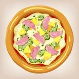 Hawaiansk pizzavektorillustration Vektor Illustrationer