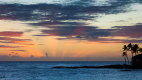 Hawaiansk solnedgång Arkivfoton