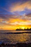 hawaiansk solnedgång Arkivfoto