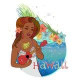 Hawaiansk vykort vektor illustrationer