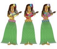 Hawaianska hulaflickor med gitarrer Arkivbild