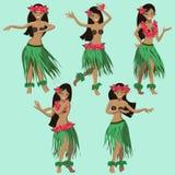 Hawaianska tecknad filmflickor som dansar hulavektorbild vektor illustrationer