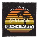 hawaii партия пляжа Paradice лета Иллюстрация вектора для футболки и другого пользы бесплатная иллюстрация