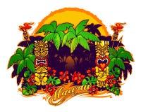 hawaii Статуи и пальмы Tiki бесплатная иллюстрация