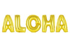 Hawaii, Aloha, gold color. Gold alphabet balloons, Hawaii, Aloha, Gold number and letter balloon Royalty Free Stock Images
