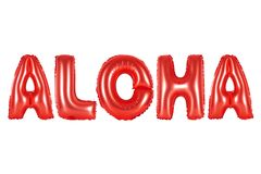 Hawaii, Aloha, red color. Red alphabet balloons, Hawaii, Aloha, red number and letter balloon Royalty Free Stock Images