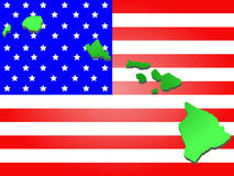 Hawaii on American flag Stock Photography
