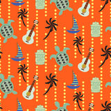 Hawaii beach orange seamless vector pattern. Royalty Free Stock Photography