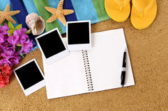 Hawaii beach photo album background copy space Stock Photos