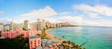 Hawaii beach resort. Diamond head tropical beach resorts in waikiki at sunrise in hawaii Stock Photo