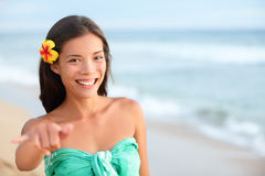 Hawaii beach smiling woman making shaka hand sign Stock Images