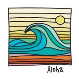 Hawaii beach, surfer poster. Or t-shirt graphics. Vector illustration Royalty Free Stock Photos
