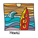 Hawaii beach, surfer poster. Or t-shirt graphics. Vector illustration Stock Photos