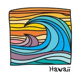 Hawaii beach, surfer poster. Or t-shirt graphics. Vector illustration royalty free illustration