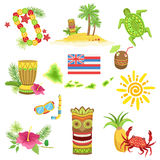 Hawaii Beach Vacation Related Set Of Objects Stock Image