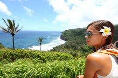 Hawaii Big Island - woman looking at view Royalty Free Stock Photography