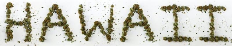 Hawaii buchstabierte mit Marihuana Stockfotografie