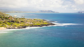 Hawaii Coastal Seascape. View of Makapuu Beach Park from the scenic lookout view point in Oahu, Hawaii, USA Stock Image