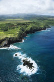 Hawaii coastline. Aerial view of rocky coastline of Maui, Hawaii Royalty Free Stock Image