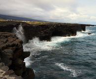 Hawaii Coastline. Big Island Hawaii coastline with old lava flows Royalty Free Stock Image