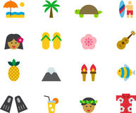 HAWAII colored flat icons Royalty Free Stock Photo