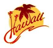 Hawaii con una palmera, antorchas ardientes, una ola oceánica estilizada y el sol stock de ilustración