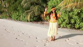 Hawaii dancer on the sand beach stock footage