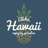 Hawaii enjoying paradise tee print with pineapple. T-shirt design graphics stamp label typography. Vector illustration royalty free illustration