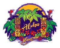 hawaii Estatuas y palmeras de Tiki stock de ilustración