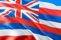 Hawaii flag. 3D Waving USA state flag design. The national US symbol of Hawaii state, 3D rendering. National colors and National stock image