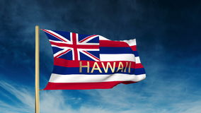 Hawaii flag slider style with title. Waving in the stock footage
