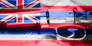 Hawaii flag U.S. state Gun Control USA. United States Gun Law. S Royalty Free Stock Image