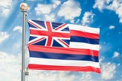 Hawaii flag waving in blue cloudy sky, 3D rendering Stock Photos