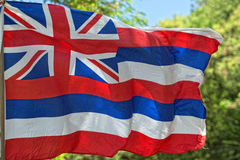 Hawaii flag weaving. Close up Hawaian flag while weaving stock image