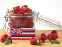 Hawaii flag on a wooden panel with raspberries isolated on a whi. Te background stock images